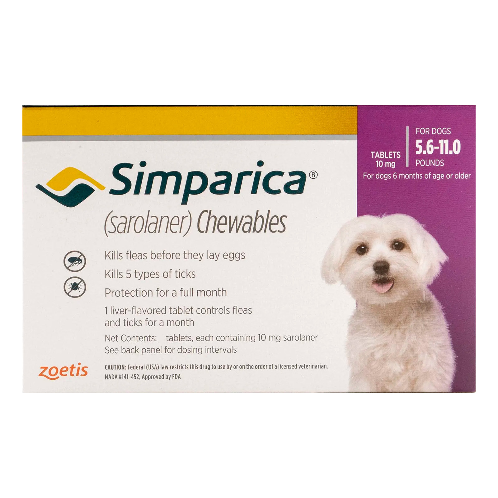 Simparica Chewables For Dogs 5.6-11 Lbs Purple 3 Pack